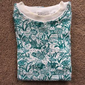 Vintage Lauren Grey Fish Pattern Top